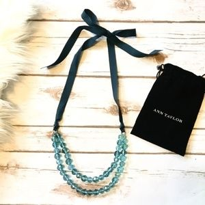 Ann Taylor turquoise bead and ribbon necklace